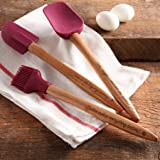 The Pioneer Woman Cowboy Rustic 3-Piece Silicone Head Utensil Set with Acacia Wood Handle (Plum)