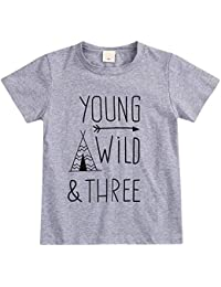 Children Gray Young Wild Three Birthday Brother Twin Letter Print Short/Long-Sleeve T-Shirts