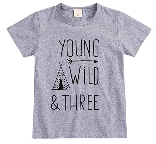 YOUNGER STAR 1 PC Children Boy Girly Gray Letter Print Short/Long Sleeve T-Shirts Clothes Outfit