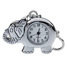 SODIAL(R) Elephant Shaped Arabic Number Round Dial Watch Key Ring Keychain