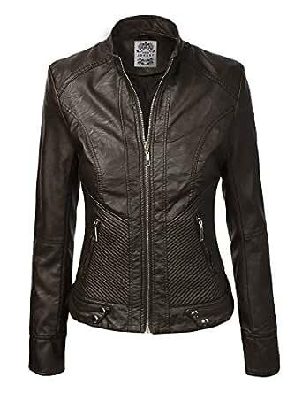 LL Womens Dressy Vegan Leather Biker Jacket XS COFFEE