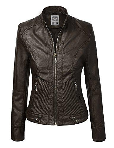 MBJ WJC610 Womens Posh Babe Faux Leather Jacket XS COGNAC