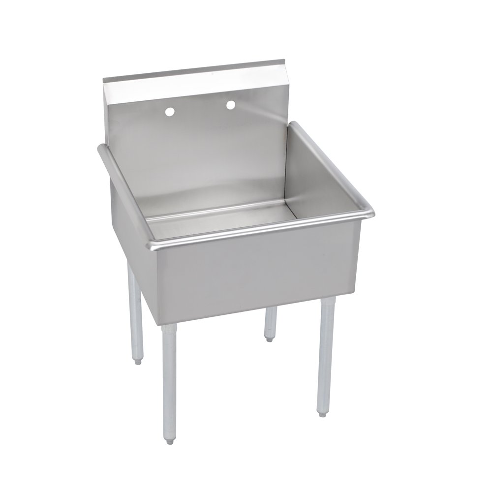 Elkay 1 Compartment Professional Grade Commercial Kitchen Stainless Steel Sink, 24''W x 24''L x 12''D