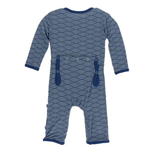 Kickee Pants Little Boys Print Coverall Zipper - Dusty Sky Tides, 5 Years (Kids Blue Tide Apparel)