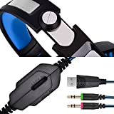 Xbox One Headset | PS4 Headset | Xbox One S Gaming Headset with Microphone VOTRON Over Ear Stereo Gaming Headphones with LED Light Noise Reduction for Xbox One PS4 PC Mac iPad PSP Headphones (blue)