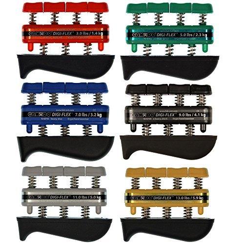 Digi-Flex Hand Exercisers Combo - Set of 6, 3 lb / 5 lb / 7 lb / 9 lb / 11 lb / 13 lb, Red/Green/Blue/Black/Silver/Gold