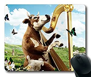 Funny Cow playing the harp Easter Thanksgiving Personlized Masterpiece Limited Design Oblong Mouse Pad by Cases & Mousepads by lolosakes