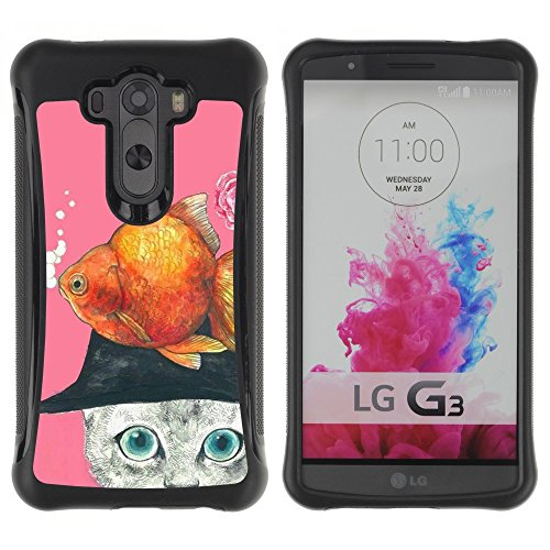 All-Round Hybrid Rubber Case Hard Cover Protective Accessory Compatible with LG G3 2014 Smart Phone - gold fish cat abstract drawing