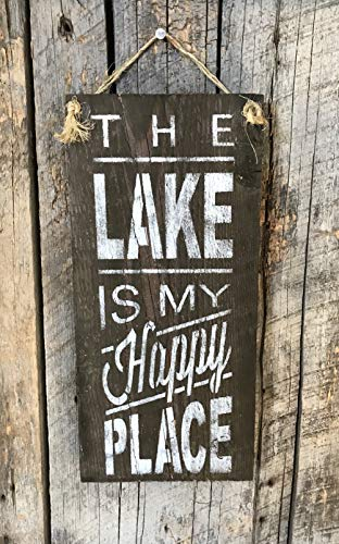 (The Lake Is My Happy Place Barn Wood Sign)