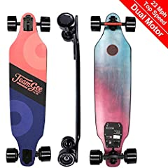 "TeamGee H9 37"" Electric Skateboard is the thinnest E-skateboard and this board has a sleek design, the battery is disguised into the deck and you will think this is a regular longboard. But turns out it is a solid built, great performance, lo..."