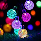 Solar String Lights 50LED 22FT Outdoor Solar-Powered Crystal Ball Fairy Lights with IP65 Waterproof & 8 Modes for Garden, Patio, Yard, Home, Wedding, Parties Decor - Mulit Col
