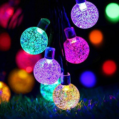 Solar String Lights GreenClick Solar Garden Lights Outdoor 40 LED Crystal Ball Style Garden Lighting Solar Powered (Multi-Color)