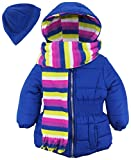Pink Platinum Little Girls' Toddler Puffer Jacket with Stripe Lining and Accessories, Royal, 2T