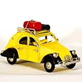 EliteTreasures Metal Collectible Yellow 2CV Car Figurine - Retro Classic Miniature - Tabletop Decorative Collectible Miniature - 2CV Car Model - Vintage Style Vehicle