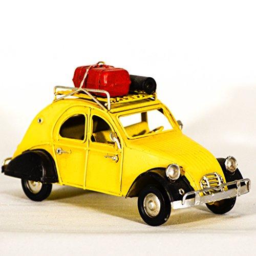 EliteTreasures Metal Collectible Yellow 2CV Car Figurine - Retro Classic Miniature - Tabletop Decorative Collectible Miniature - 2CV Car Model - Vintage Style Vehicle by EliteTreasures