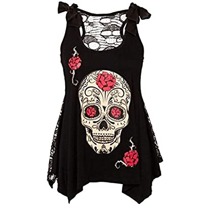 Beautife Women's Skull Print Lace Shirt Patchwork Sleeveless Tank Tops Plus Size