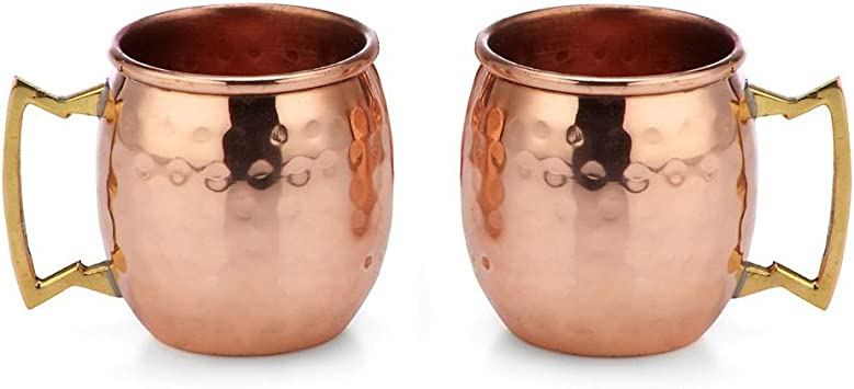 2x Hammered Moscow Mule Mug Drinking Cup 100/% Pure Solid Copper Brass 16 Oz RE