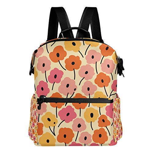 TARTINY Seamless Floral Pattern Flowers Texture Laptop Backpack Leather Strap School Bag Outdoor Travel Casual Daypack