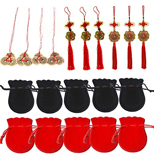 Ioffersuper Feng Shui Coins Set,Chinese Knot Lucky Coins Fortune Coin for Good Luck and Healthy with Storage Bags