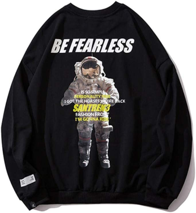 Ever Night T-Shirt Hip-Hop Astronauti Allentate Stampate Maglione Girocollo Autunno E l'inverno di Base Selvaggio Cappotto Giacca A Maniche Lunghe da Uomo E Donna Black