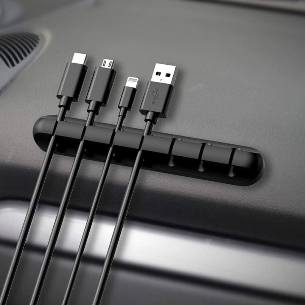 utilizado para la oficina en casa de la computadora de TV gris, negro soporte de cable de escritorio sistema de administraci/ón de cables Soporte de cable de escritorio adhesivo LuLyL 2PCS