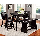 Cheap Furniture of America Morley 6-Piece Pub Dining Set, Black