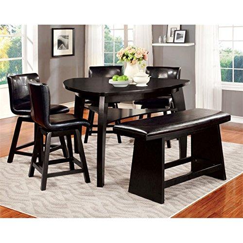 Furniture of America Morley 6-Piece Pub Dining Set, Black