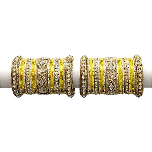 MUCH-MORE Beautiful Multi Color Bangles For Women & Girls Wedding Jewelry (Yellow, 2.8) by MUCH-MORE