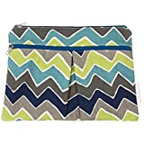 Logan + Lenora Wet + Dry Diaper Clutch - Carry Wipes, Diapers, Creams, Cloth Pads, Breast Pads, or Toiletries - Small Cloth Diaper Wet Bag with Dry Pocket - Made in USA - Waterproof - Chevron (Blue ZOOM)