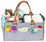 """Baby Diaper Caddy - Extra Large 17"""" x 11"""" x 8"""" with Water Resistant Lining - Two Large Zipper Pockets for Valuable Items - Multi Purpose - Eco Friendly - Gender Neutral - Diaper Bag for Baby Registry"""