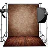 ANVOT Photography Backdrop, 5x7 ft Concrete Wall Wood Floor Backdrop For Studio Props Photo Backdrop