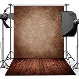 ANVOT Photography Backdrop, 5x7 ft Concrete Wall Wood Floor Backdrop For Studio Props Photo Backdrop