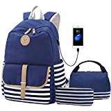 Lightweight Teens Backpack Set Canvas Girls School Bags, Bookbags 3 in 1 with Lunch Bag