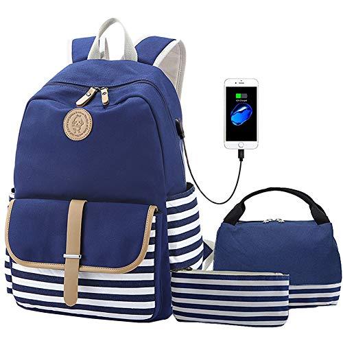 Lightweight Teens Backpack Set Canvas Girls School Bags