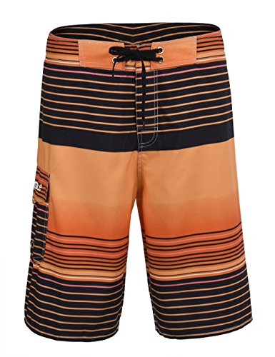 Nonwe Men's Swim Trunks Stripe Straight Lightweight Beach Shorts Half Pants With Lining Orange Striped 28
