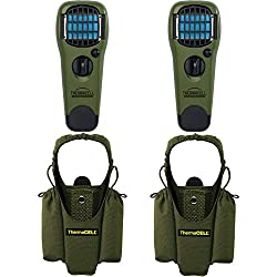 Set of 2 Thermacell Mosquito Repellent Outdoor and Camping Repeller Devices & 2 MR-HJ Repeller Holsters, Olive