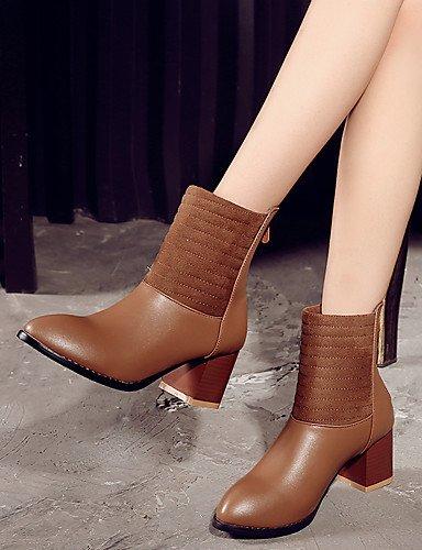 XZZ  Damen-Stiefel-Kleid-Kunstleder-Blockabsatz-Modische Stiefel-Schwarz     Braun   Rosa   Grau B01KPZVCZ6 Sport- & Outdoorschuhe Kostengünstig 17cb5b