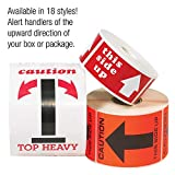 "Partners Brand PDL1307 Tape Logic Labels,""This Side Up"" Arrow, 2"" x 3"", Red/White"