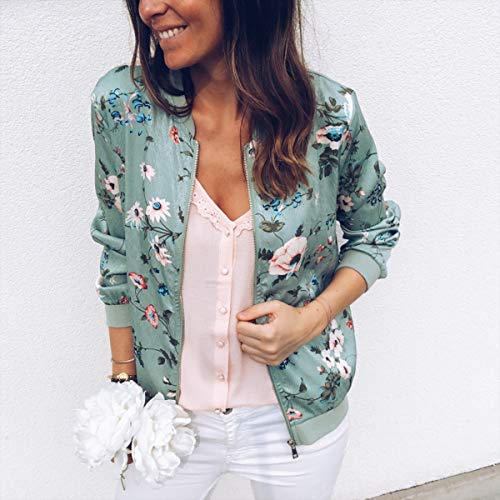 Con Moda Lunga Verde Giacche Tops Autunno Bomber Jacket E Giacca Floreali Cime Manica Onlyoustyle Cappotto Donna Outerwear Casual Zip Coat Primavera wxvSIvR