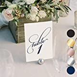 Navy Wedding Table Numbers (Assorted Color Options Available), Double Sided 4x6 Calligraphy Design, Numbers 1-25 & Head Table Card Included — from Bliss Paper Boutique