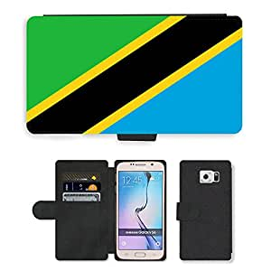 GoGoMobile Flip PU Leather Wallet Case with Credit Card Slots // V00001181 tanzania National Country Flag // Samsung Galaxy S6 (Not Fits S6 EDGE)