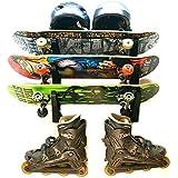 Maxfind 水平スケートボードウォールラックストレージウォールハンガー スケートボード/ロングボード/スキー/フィッシングロッドのため (3組)