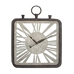 Deco 79 98149 Pocket Watch Metal and Wood Wall Clock, 34 x 26, Black/Gray