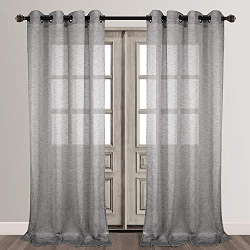 VOILYBIRD Vitoria Grey Linen Textured Sheer Curtains for Bedroom, Grommet Curtains 84 Inches Long (W54 x L84, 2 Panels, Grey)