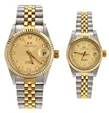 Gift w/ Box Luxury Pair of Couples Lovers Women Men Diamond Stainless Steel Automatic Self Wind Date Watch White Sliver Gold