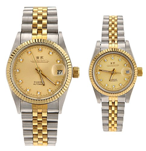 Gift w/ Box Luxury Pair of Couples Lovers Women Men Diamond Stainless Steel Automatic Self Wind Date Watch White Sliver Gold by jijia