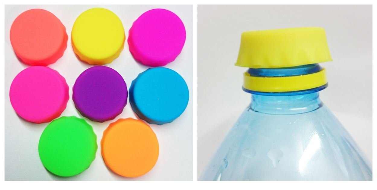 8 Neon Reusable Bottle Beer Soda Cola Caps Saver Silicone Fresh Gadget Kitchen Useful Cover Stopper Sealer Crown Bar Concept4u