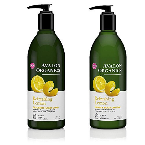 Avalon Organics Refreshing Glycerin Lemon Hand Soap and Hand & Body Lotion Bundle With Aloe, Plant Lipids, Beta-Glucan, Calendula and Vitamin E, 12 fl. oz. each