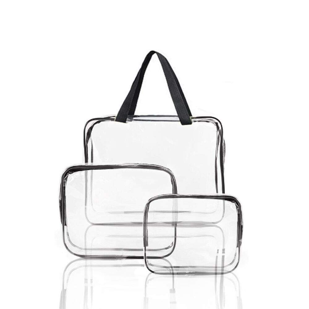 3Pcs PVC Travel Bag Transparent Waterproof Toiletries Bag Liquid Bags for Flights Makeup Hanging Shoe Storage Bag with Zips Vacuum Storage Holiday Pouching for Gift,Jewellery,Cosmetic,Shampoo and etc