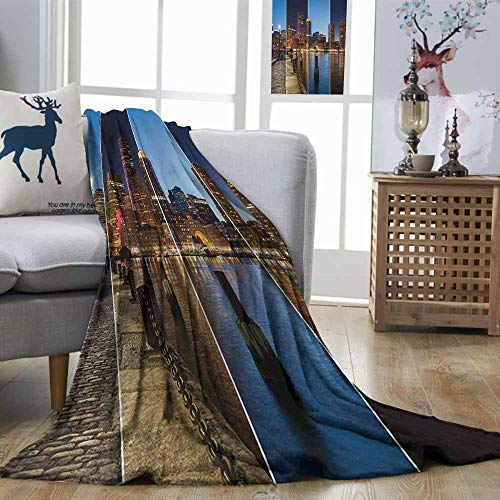 Zmstroy Soft Blanket American Boston Skyline Day and Night Cityscape Skyscraper Reflection in Water Metropolis Multicolor Print Summer Quilt Comforter W70 xL93]()